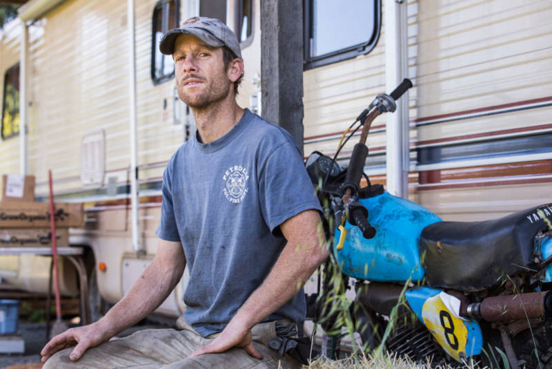 Cedar McCulloch-Clow, a goat farmer and volunteer firefighter, owns the property where Terri pitched her tent while doing trim work in Petrolia.
