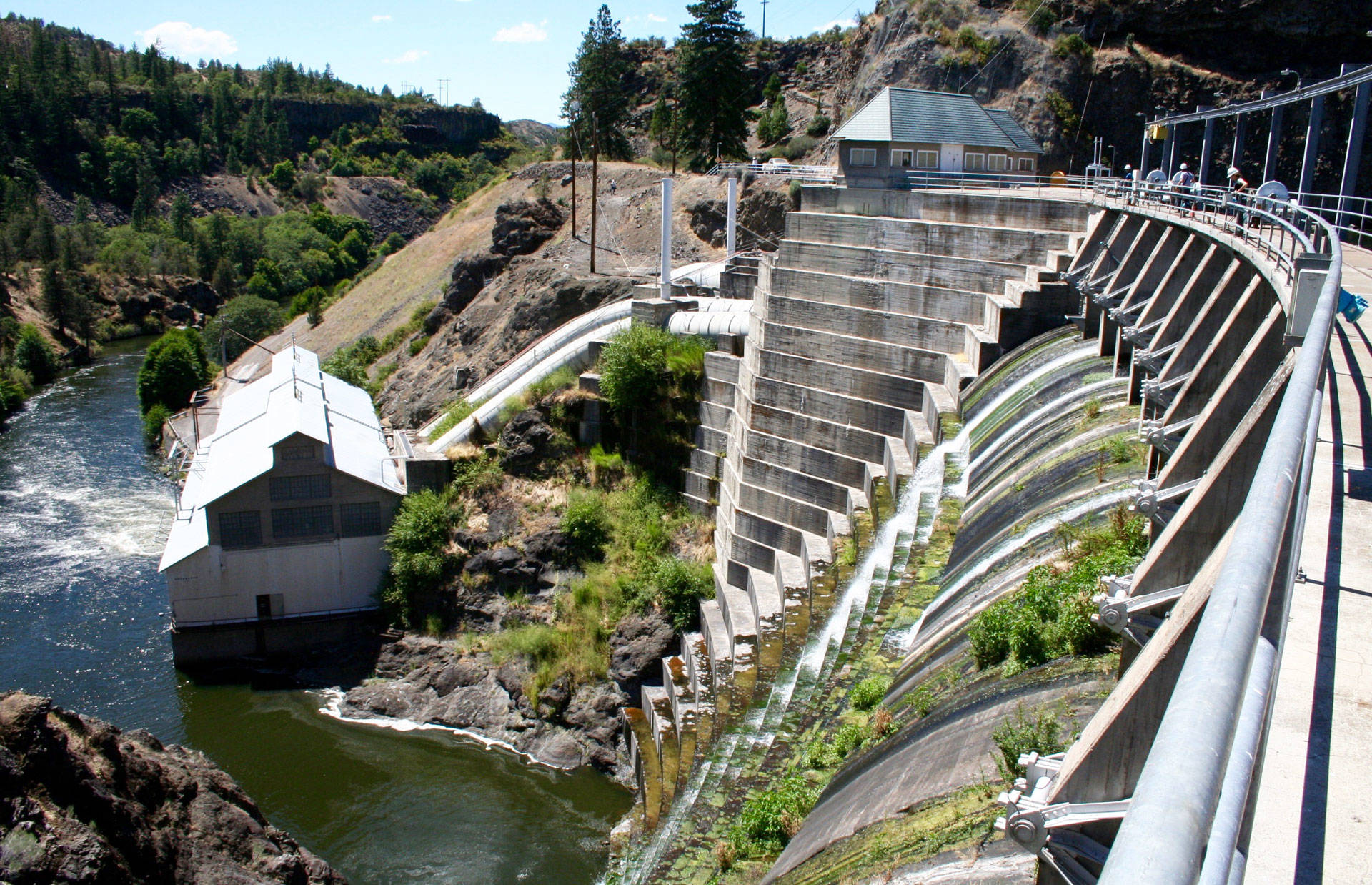 The 132-foot-high Copco 1 Dam, on the Klamath River outside Hornbrook, California, has generated power for nearly a century. Now, its owner has set in motion a plan to dismantle it, if approved by federal energy regulators. Molly Peterson/KQED