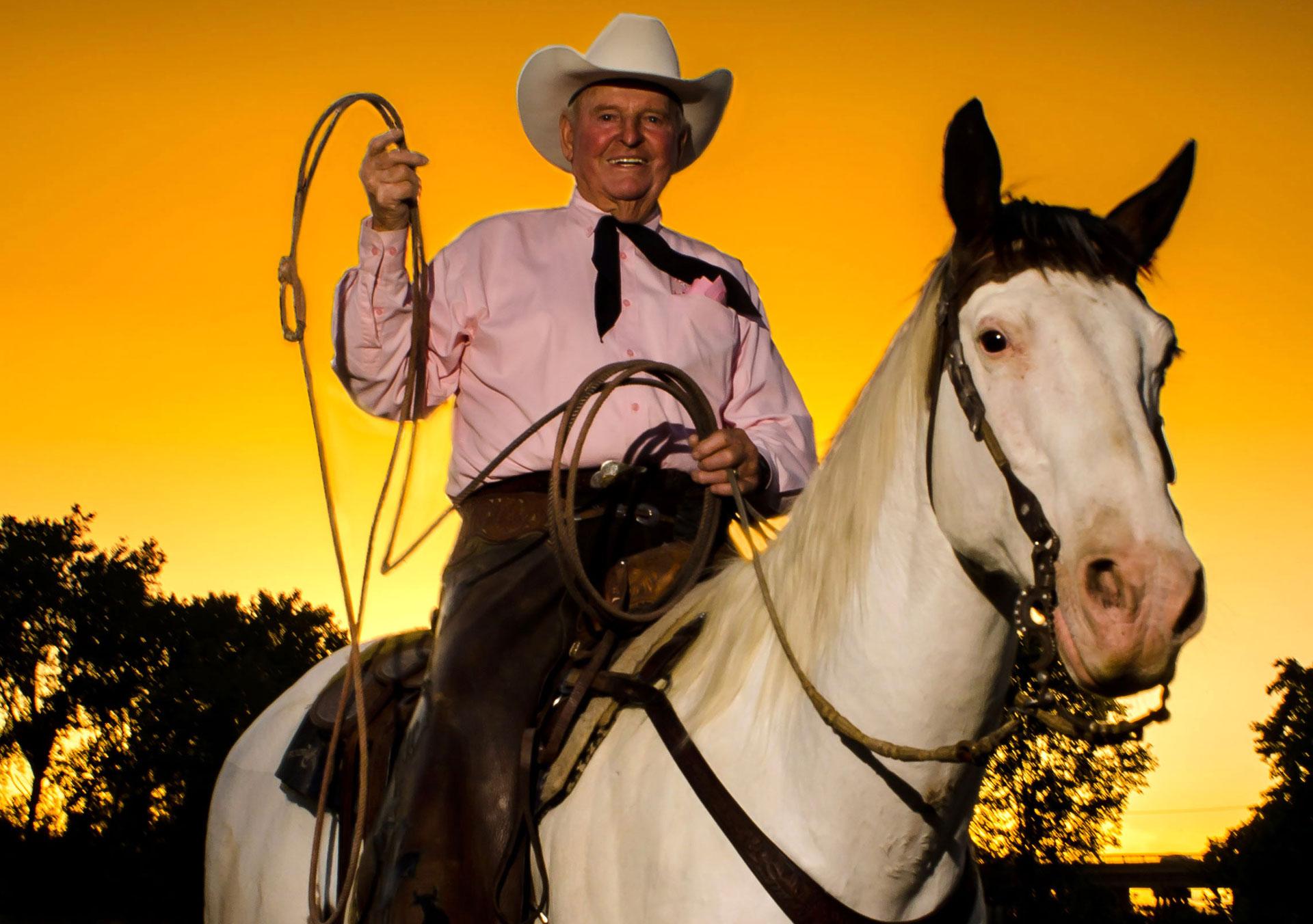 Cotton Rosser on his ranch in Marysville.