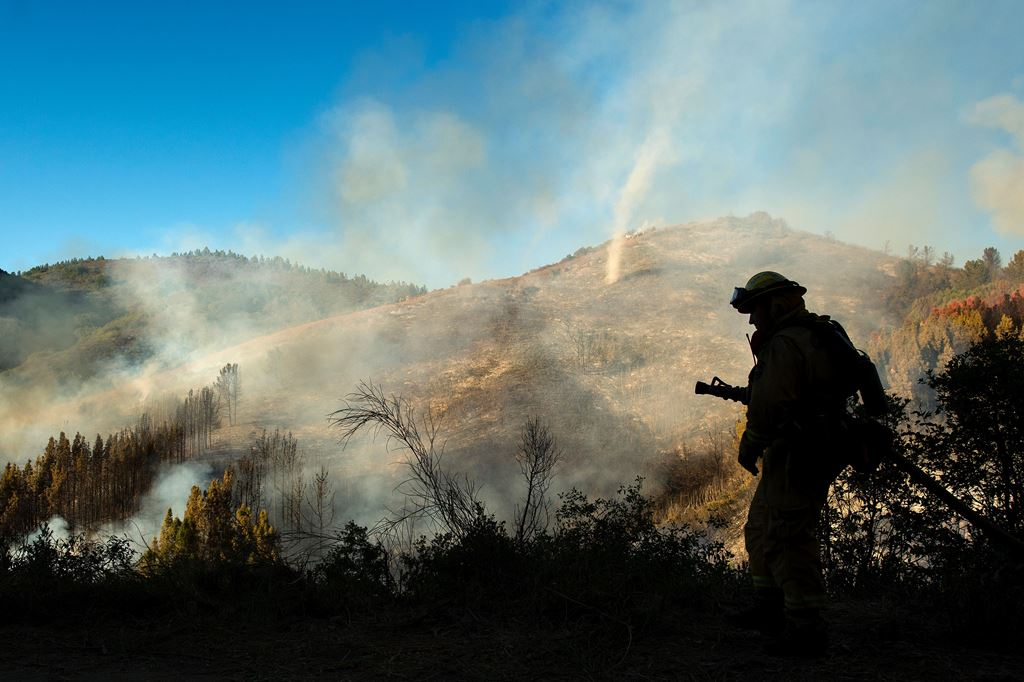 A firefighter walks with a hose as a dust devil kicks up along a charred hillside in the Santa Cruz Mountains near Morgan Hill, California.