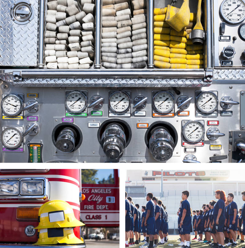 Hoses piled neatly on a firetruck at Banning High School's firefighting program in Los Angeles; students line up for exercises; helmets stacked on the bumper of a fire truck.