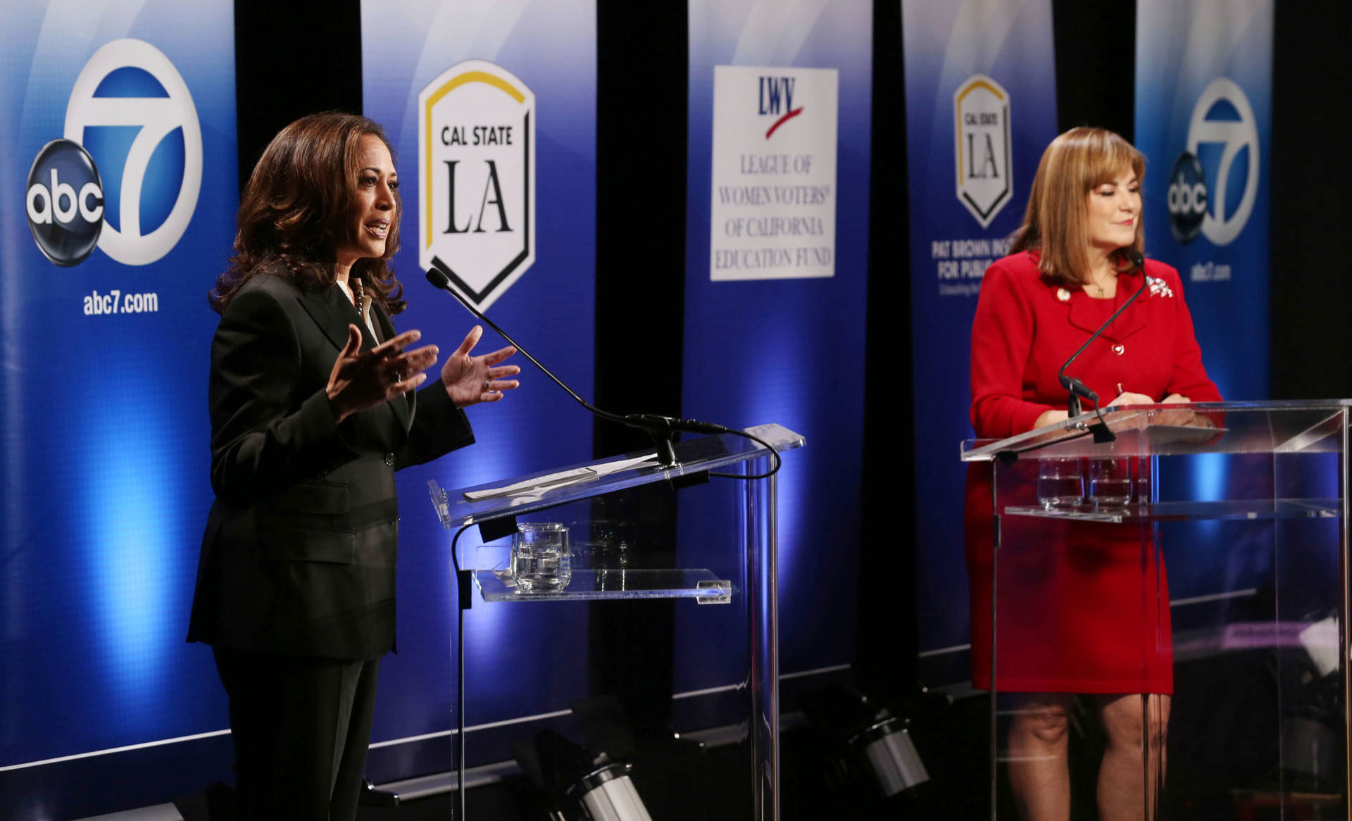 California Attorney General Kamala Harris (L) and Orange County Rep. Loretta Sanchez debate at Cal State L.A. on October 5, 2016.