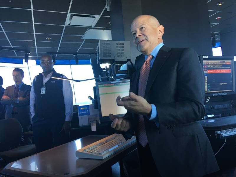 FAA chief Michael Huerta in the new tower.