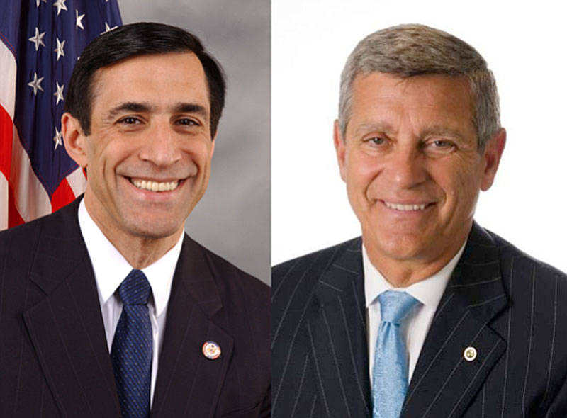 Vista Republican Congressman Darrell Issa (L) will face Democrat attorney Doug Applegate in a November runoff.