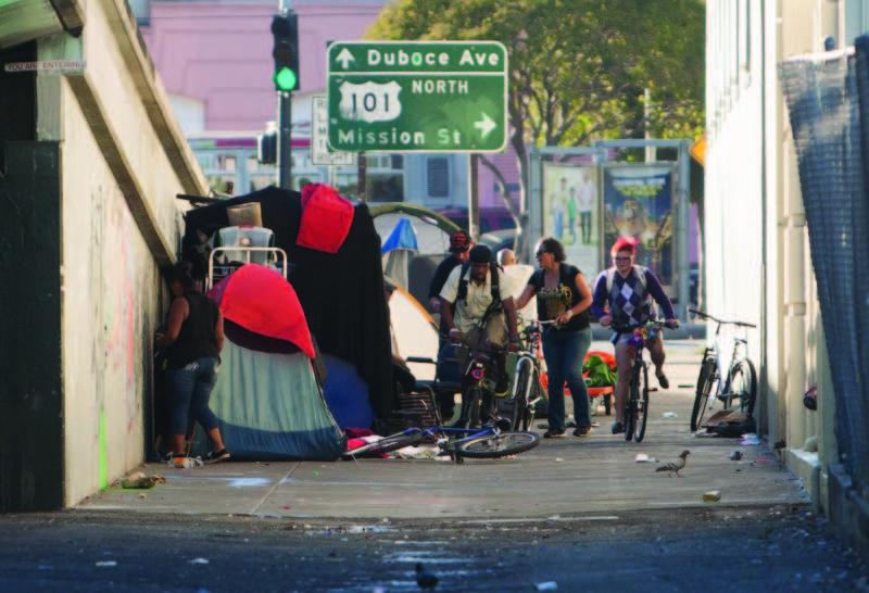A homeless encampment in San Francisco.