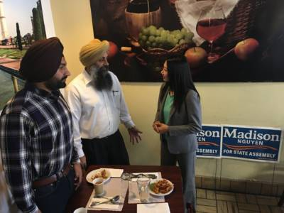 Former San Jose Vice Mayor Madison Nguyen is campaigning for state Assembly at New India Chat Cafe.