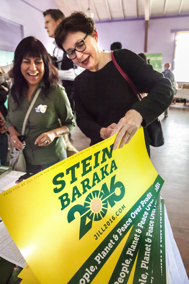 Kate Tanaka speaks with a campaigner at the Jill Stein campaign event in Oakland on October 6, 2016.
