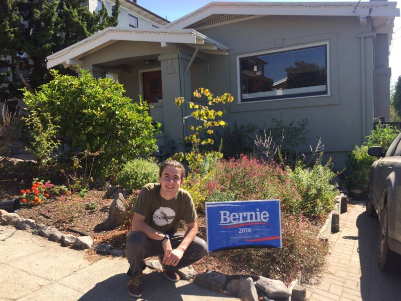 Bernie Sanders supporter Mathew Murphy at his family home in Oakland.