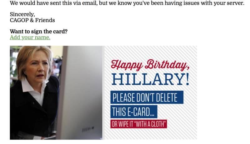 An email sent out by the CA GOP on Hillary Clinton's birday