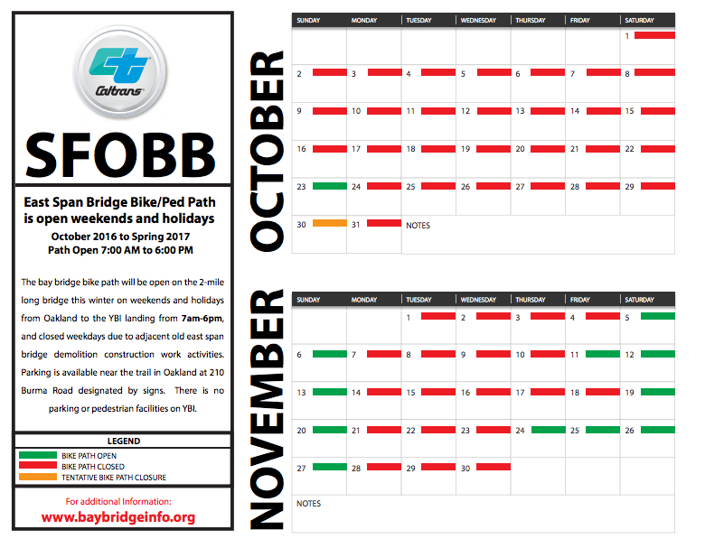 Bay Bridge bike path calendar for October and November.