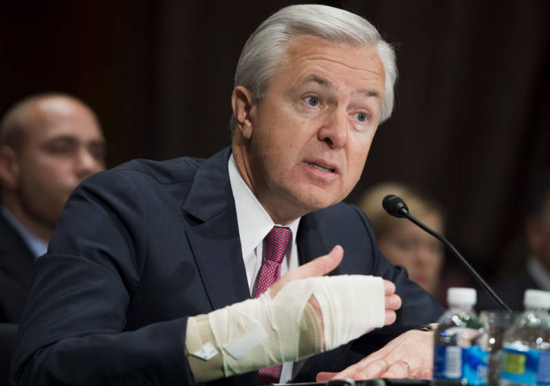 Wells Fargo CEO John Stumpf testifies about the unauthorized opening of accounts by Wells Fargo during a Senate hearing on September 20, 2016.