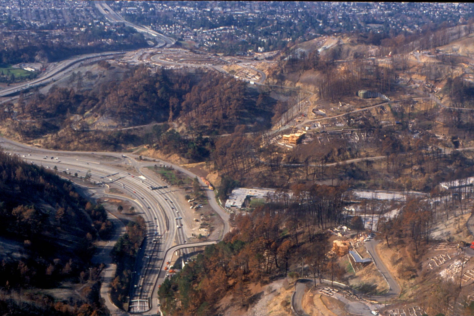 Canyon fire looking east the red line was the perimeter of the canyon - The Devastating East Bay Hills Fire Of 1991 Swept Down Temescal Canyon Quickly Destroying Nearly Everything In Its Path The Area Now Is Largely Rebuilt