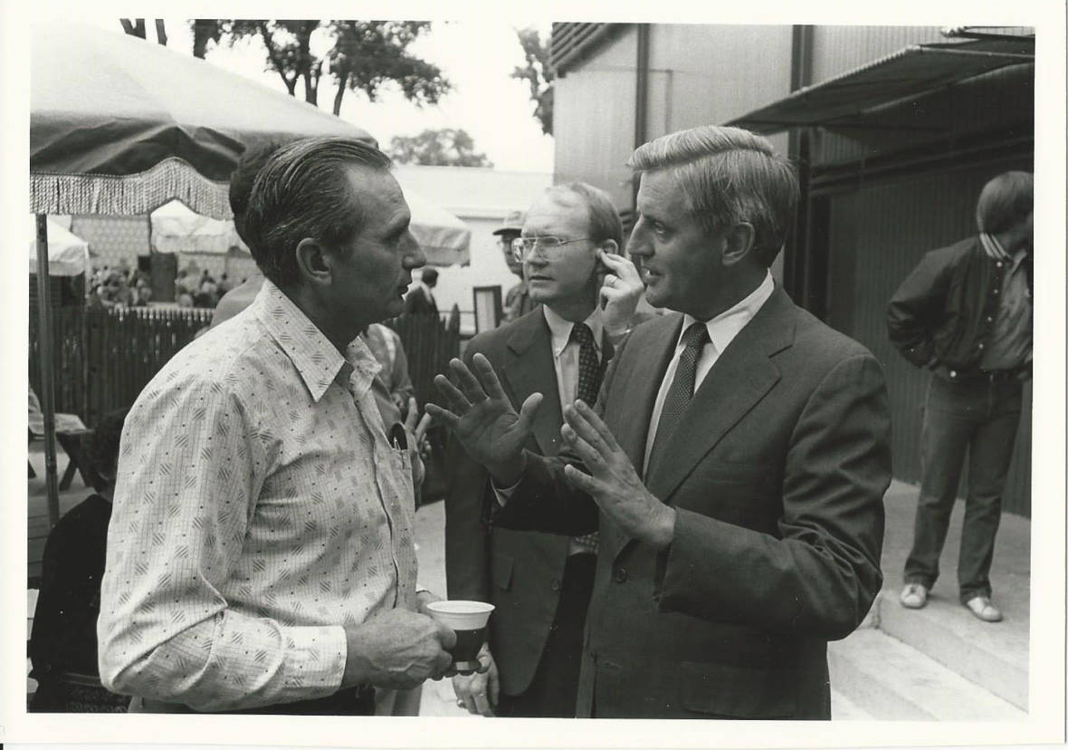 Boe Martin (center, in back with the earpiece), on the campaign trail with Walter Mondale.  Courtesy of Stephanie Martin Taylor