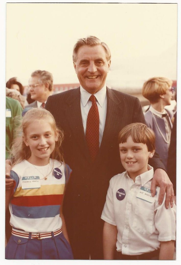 This is me and my brother, Scott Martin, with Mondale at a campaign stop in Fort Worth, Texas. I'm 11 here.
