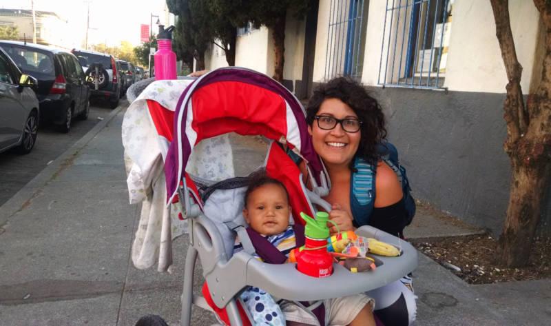 Franki Velez outside Omni Commons in Oakland.