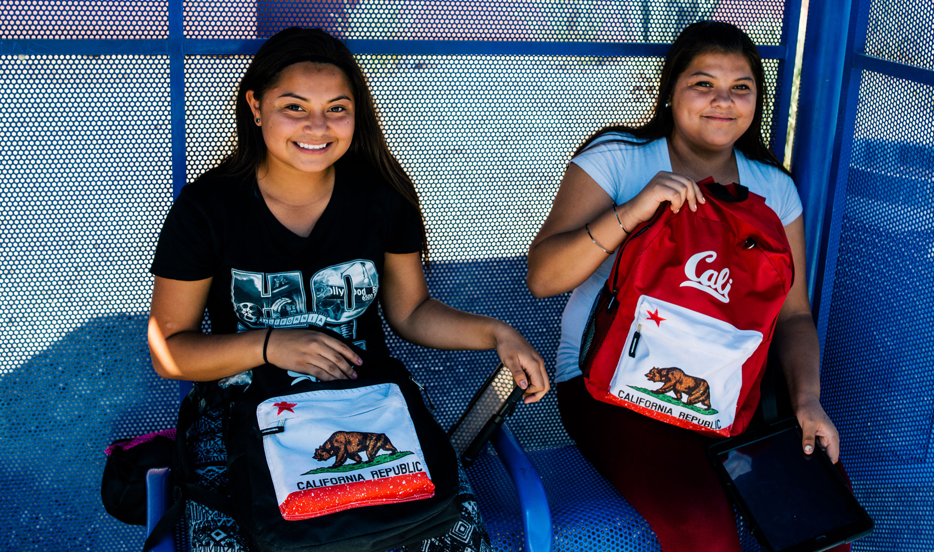 Thirteen-year-old twins Ruby Barraza and Esmeralda Valdez Barraza catch the 95 bus to Coachella to see some friends.