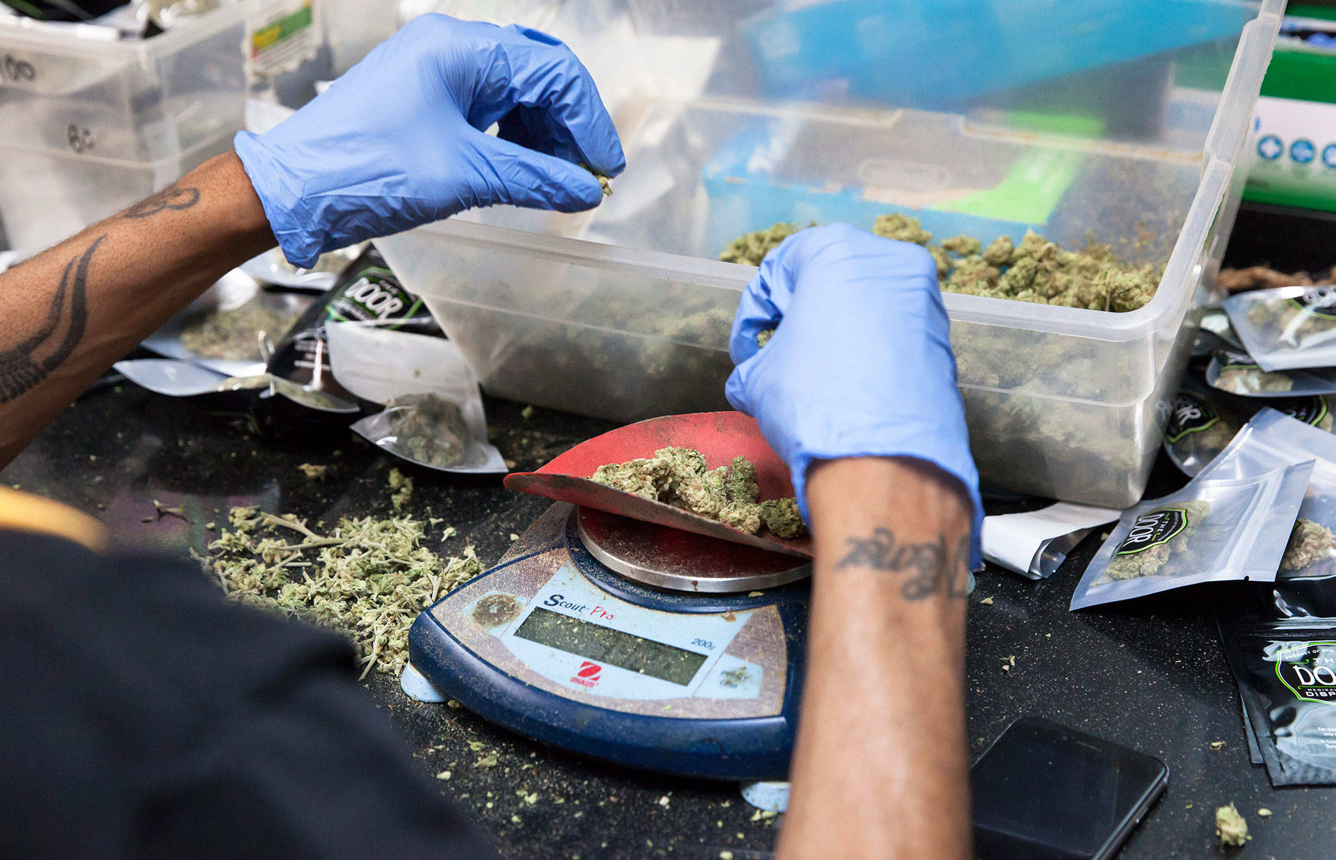 Cannabis buds are weighed before being packaged for sale at the Green Door Dispensary in San Francisco. Brittany Hosea-Small/KQED