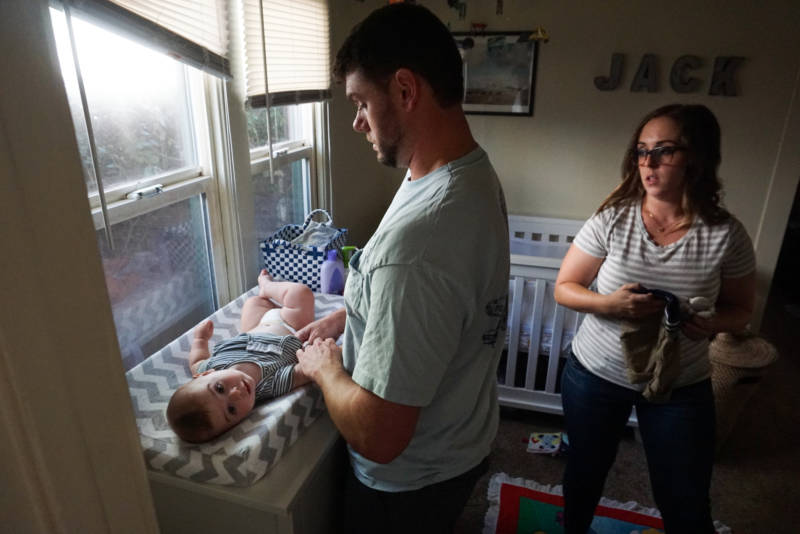 Iris Fugate says having the time with her husband, Eli, to jointly care for their baby in Jack's first weeks of life helped them learn how to parent together.