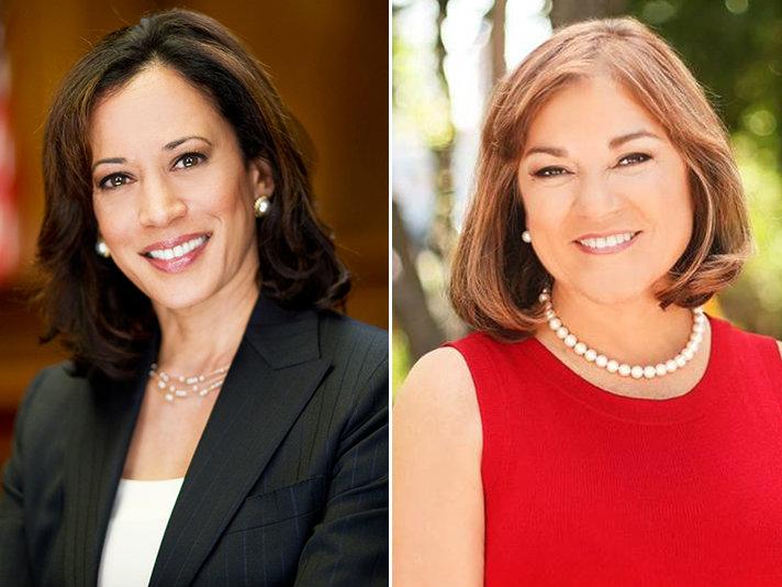 California Attorney General Kamala Harris (L) and Rep. Loretta Sanchez.