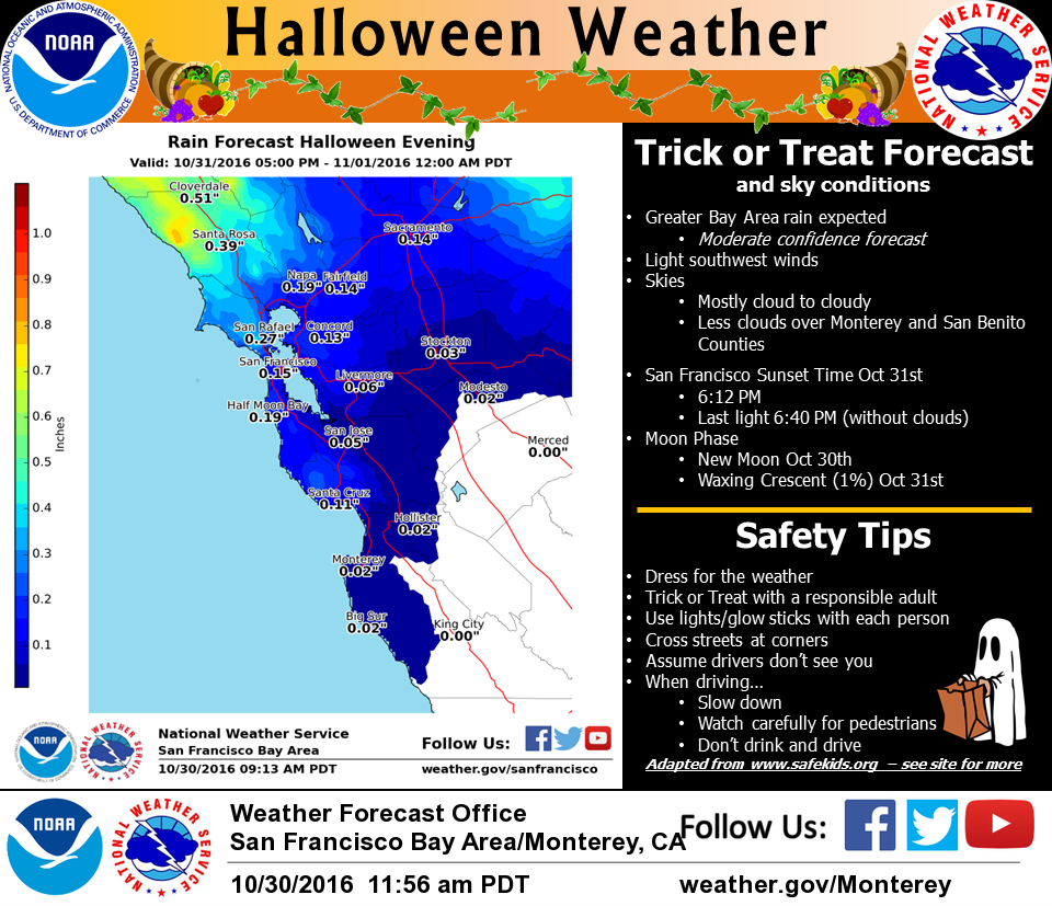 The National Weather Service forecast for Halloween. (Click for full-size image).