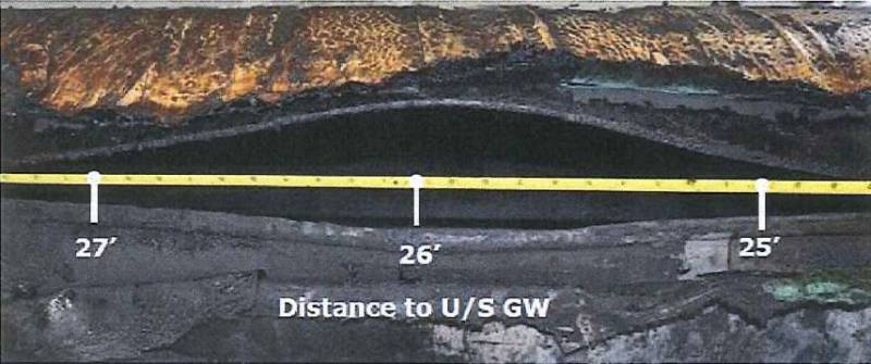 A photo of the pipeline longitudinal seam split from the September 2016 rupture.