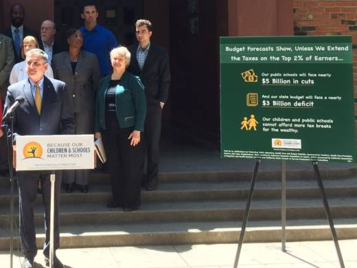 The campaign for a voter initiative that would extend the income tax increases on the rich held a news conference on Wednesday May 11, 2016, at California Middle School in Sacramento.