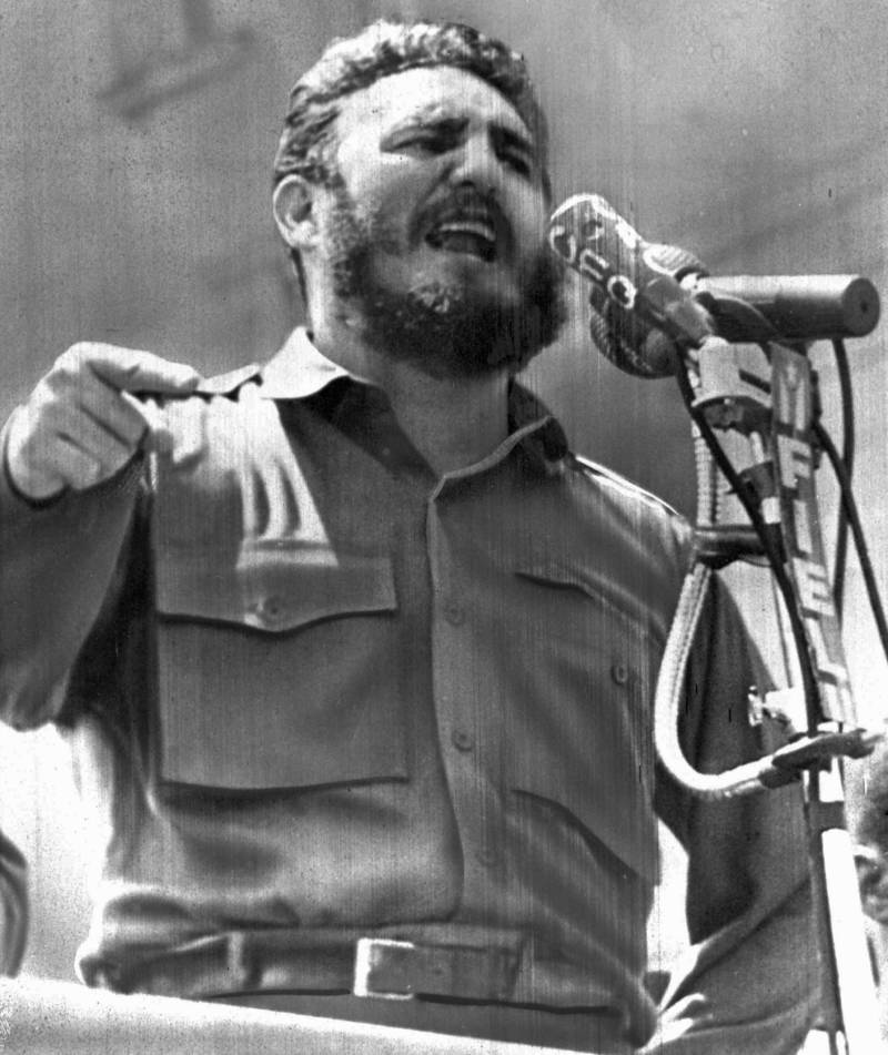 Castro, speaking in Havana on April 16, 1961. A day later, a force of Cuban exiles - trained, financed and commanded by the CIA - land at Playa Giron in the Bay of Pigs, hoping to incite a popular uprising against Castro's government.