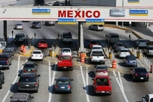 Traffic enters Mexico from the U.S. at the San Ysidro border crossing.