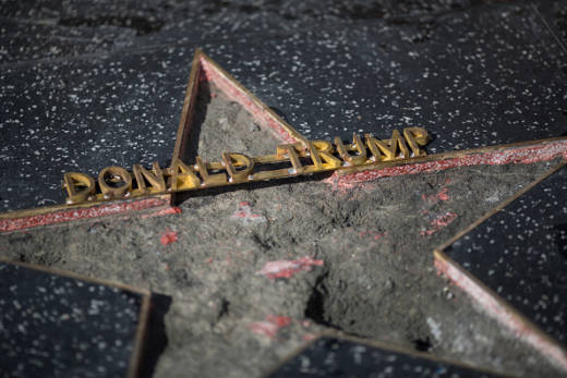 Trump's Star On The Hollywood Walk Of Fame Defaced