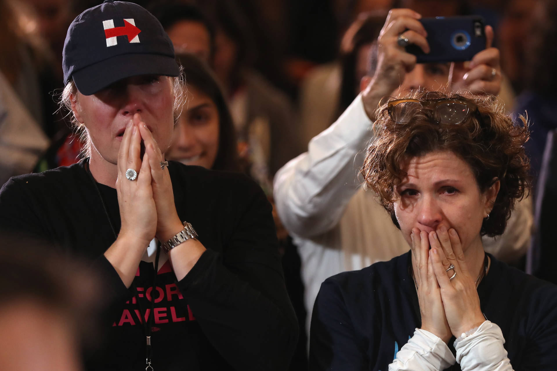 Staffers and supporters react as former Secretary of State Hillary Clinton concedes the presidential election at the New Yorker Hotel on Nov. 9, 2016, in New York City.   Justin Sullivan/Getty Images