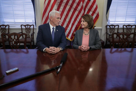 U.S. Vice President-elect Mike Pence and House Minority Leader Nancy Pelosi met at her offices at the U.S. Capitol on Nov. 17, 2016 .