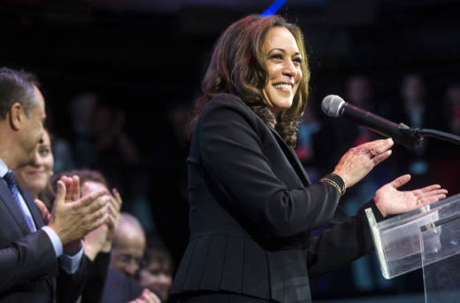 Newly elected California Sen. Kamala Harris celebrates her victory on election night.