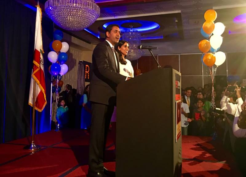 Ro Khanna with wife Ritu Khanna at the Royal Palace in Fremont on election night.