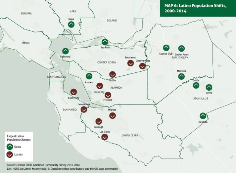 """Growth was concentrated along a belt on the eastern edge of the region running north-south from the Stockton metro area in San Joaquin County, through the Modesto area, and down to Newman in Stanislaus County."""