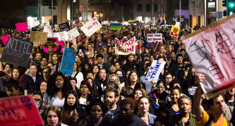 Thousands of people attend an anti-Trump protest in Oakland on November 9, 2016.