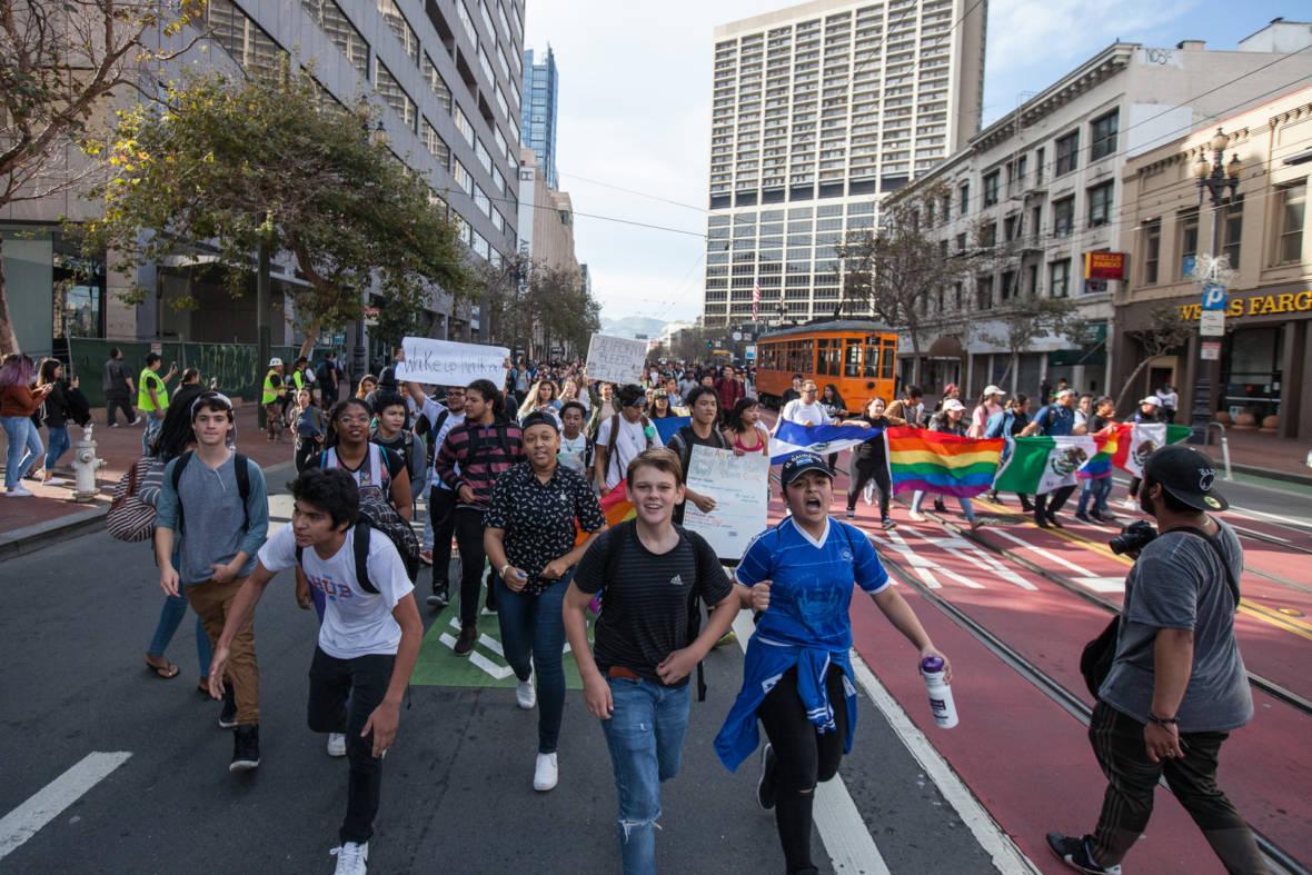 San Francisco High School Students Protest Trump