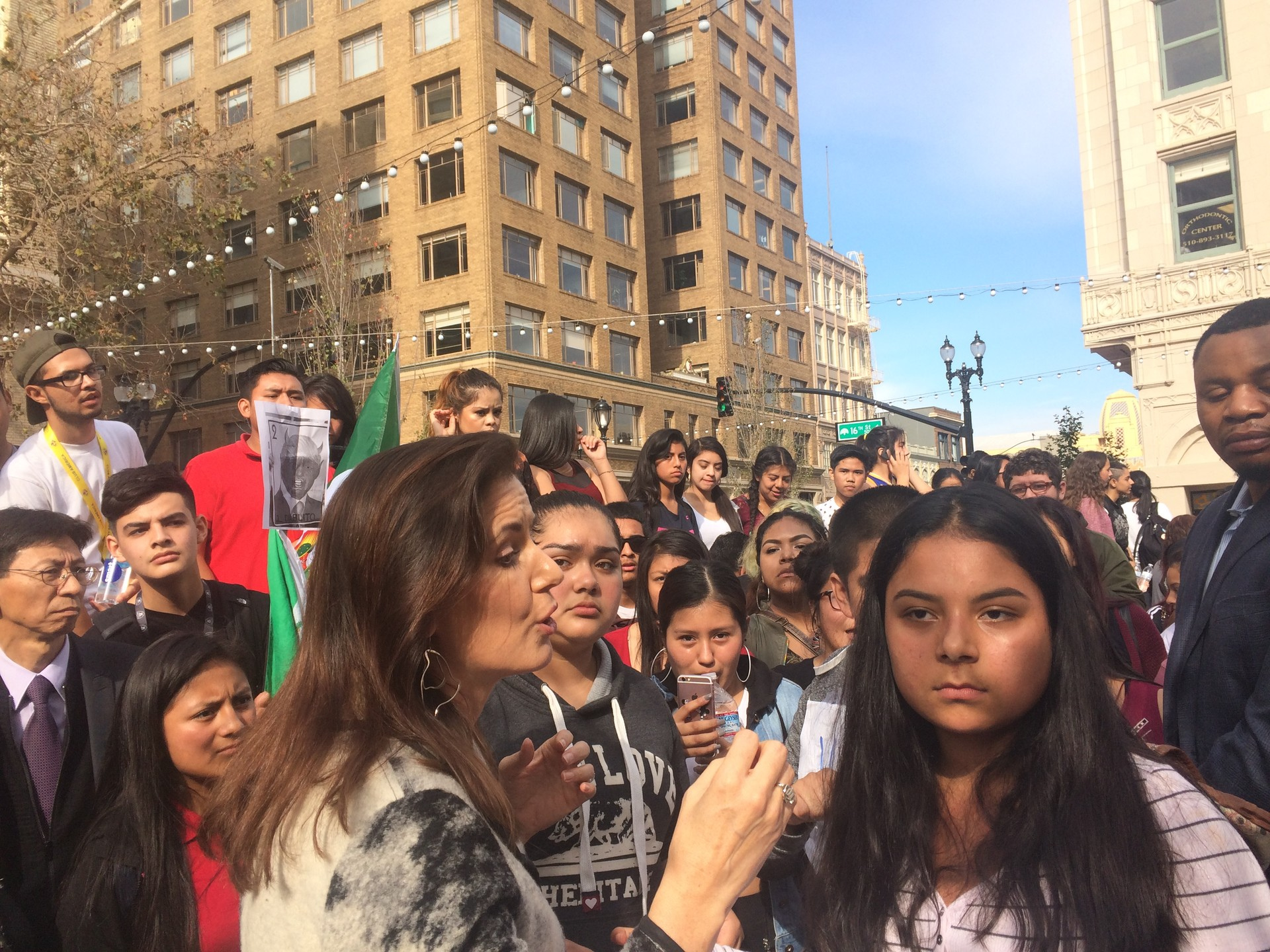 """Oakland Mayor Libby Schaaf tries to speak with high school students protesting Trump's election. """"in this city we will be protecting all our residents. In this city we believe in inclusion,"""" said Schaaf."""