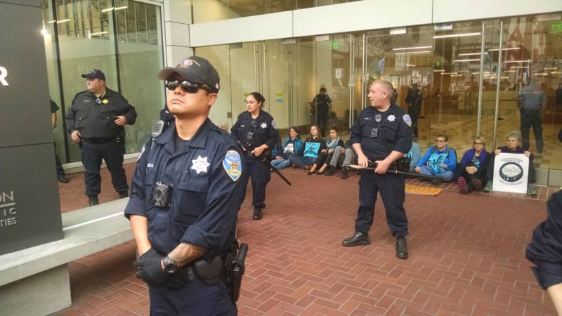 Protesters met at City Hall before marching down Market Street and stopping in front of the U.S Army Corps of Engineers offices.