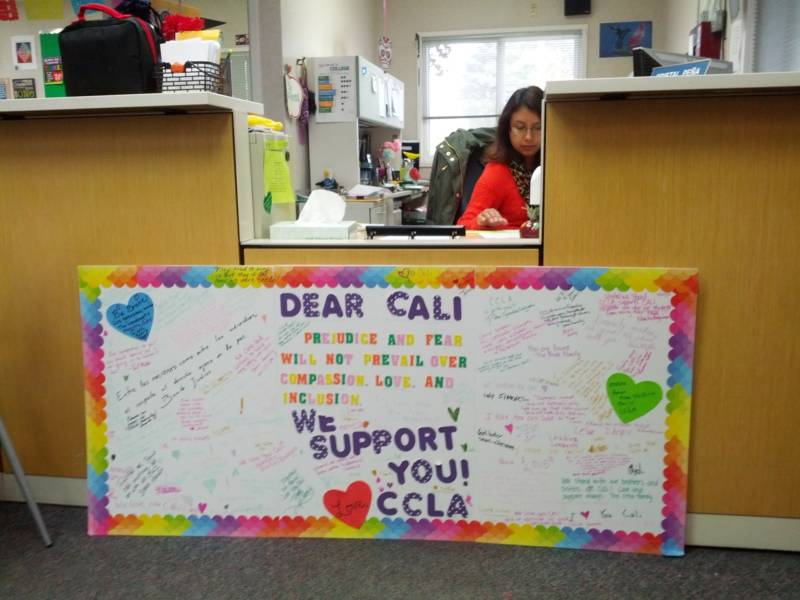 Community members flooded the school with messages of support after anti-immigrant graffitti was sprayed on the walls.