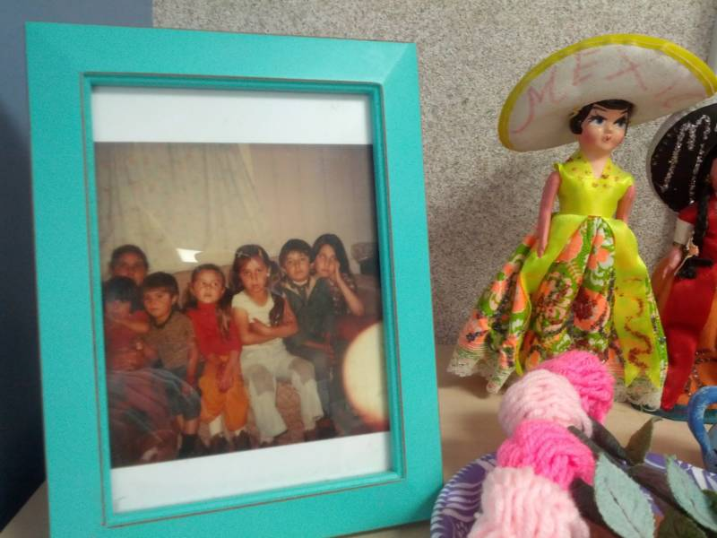 Rosa Villalpando keeps a childhood picture in her classroom.