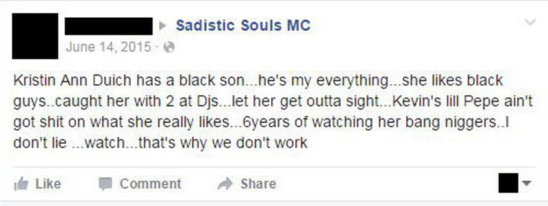 A second example of a Facebook post that was flagged where racial slurs were used.