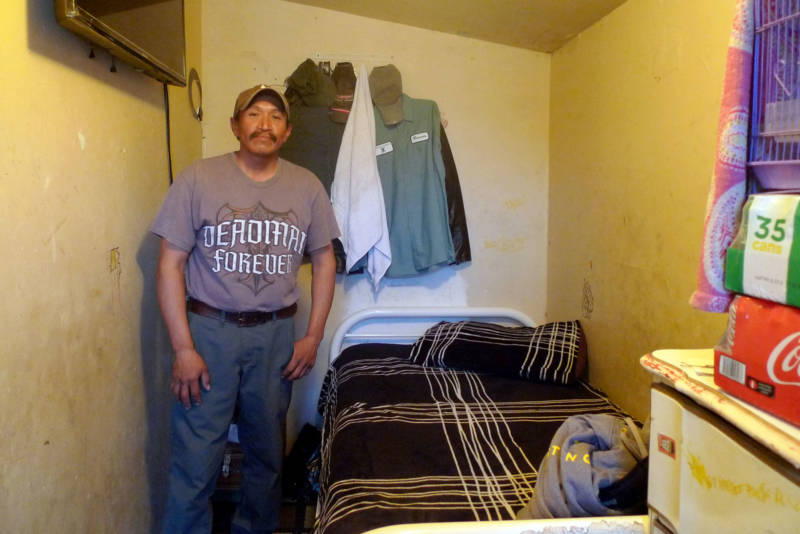 Tafoya family friend Ricardo rents a closet-sized room in their East Salinas apartment.