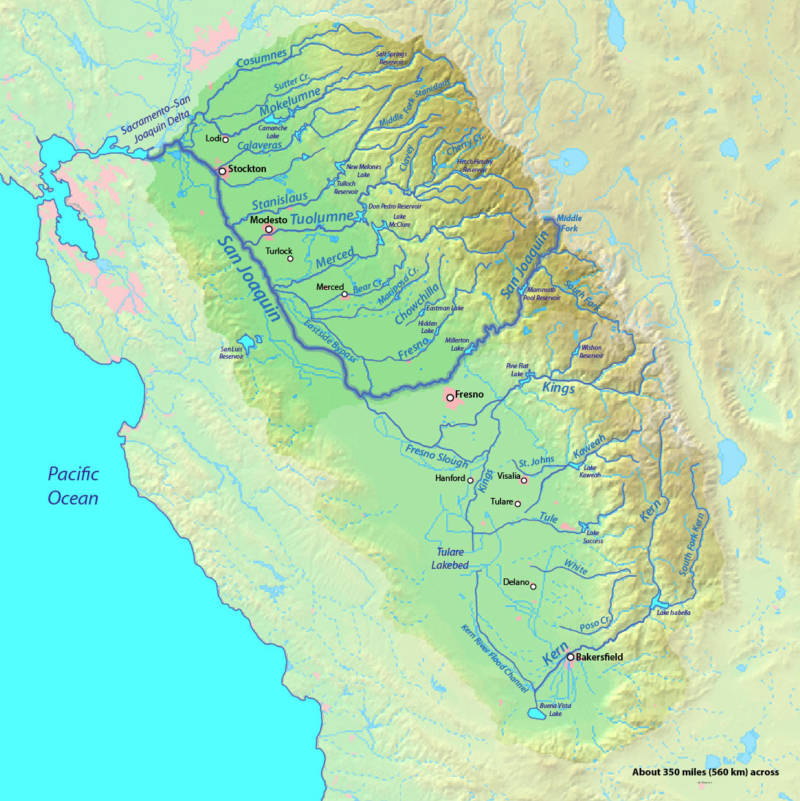 Fed by mountain tributaries, the San Joaquin River runs up the spine of California before flowing into Delta.