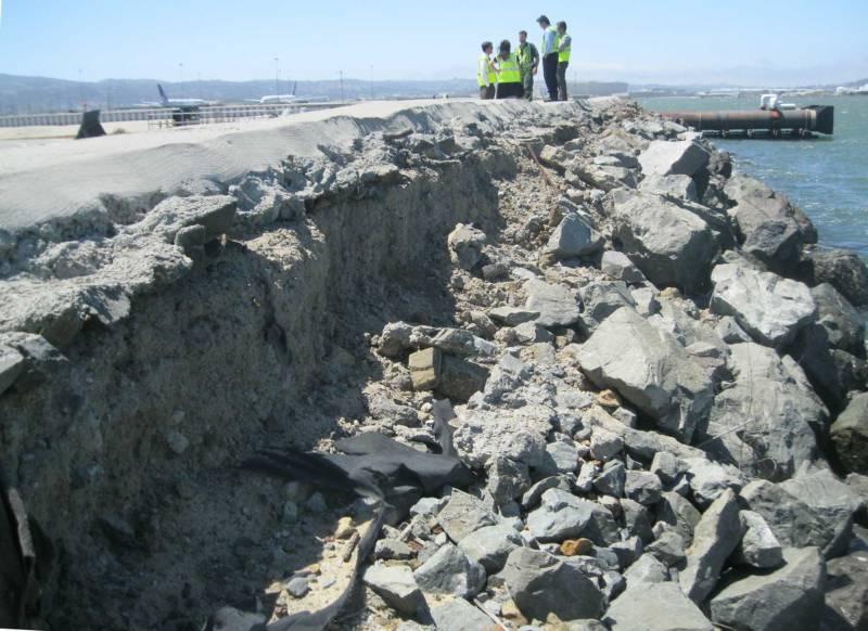 A segment of the damaged seawall at San Francisco International Airport.