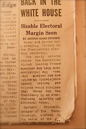 A detail of the Chicago Tribune's 1948 'Dewey Defeats Truman' front page showing inverted copy. The paper's union typesetters were on strike the night of the 1948 election.