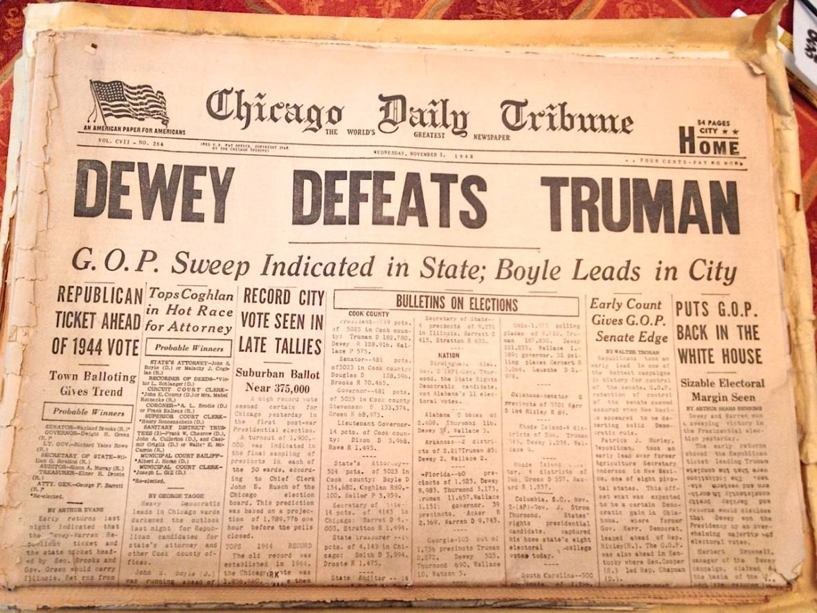An early edition of the Chicago Tribune for Wednesday, Nov. 3, 1948, carrying the legendary (and incorrect) headline 'Dewey Defeats Truman.' Dan Brekke/KQED