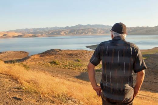 Water levels remained extremely low in July 2016 in the San Luis Reservoir, Merced County, California, after a prolonged drought. It is an artificial lake and the fifth largest reservoir in California.