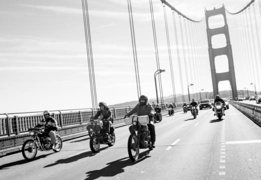 Dirtbag Challenge competitors take their motorcycles to task over the Golden Gate Bridge.