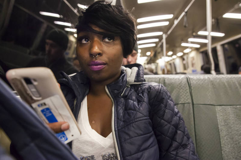 Brittany Jones, a student at Laney College, spends a lot of time on Bart going back and forth between school, work and her storage unit in West Oakland. Jones is currently homeless and spends up to three hours a day at her storage unit organizing her belongings, doing homework, or relaxing.