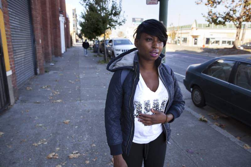 Brittany Jones, a student at Laney College is currently homeless. Jones trades off between staying at friends or relatives houses and sleeping on Bart in the early mornings before school.